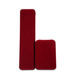 Wholesale Red Rectangle Ring - Top Grade Revelt Fabric Jewelry Boxes Red Rectangle & Square Jewelry Packaging Boxes & Cases for Rings Bracelet Ear Studs Necklace