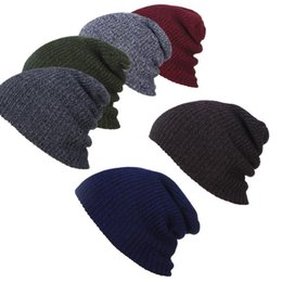 Wholesale Wool Ski Hats For Men - Wholesale-Unisex Femal Men Winter Warm Hats Beanie Hat Slouchy Baggy Knitting Wool Ski Sports Cap For Men Women,6 Color Free Shipping #15