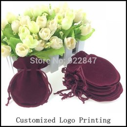 Wholesale Customized Velvet Gift Bags - Free Shipping 100pcs Lot 7x9cm Dark Red Fashion Velvet Bag Gourd Bag Jewelry Pouch Gift Bag Can Customized Logo Printing