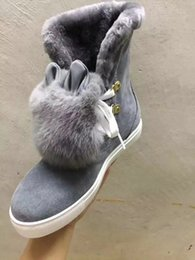 Wholesale Ladies Rabbit Fur Tops - Luxury ASH Fur Wool Rabbit High Top Shoes For Womens Winter Snow Boots Lady Cow Leather Ankle Sneakers Sz35-40