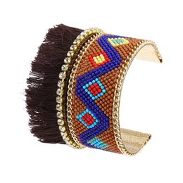 Wholesale Wholesale Gold Seed Beads - Bohemia Coffe Tassel Cuff Bracelet Gift Punk White Ethnic Vintage Exaggerated Seed Bead Crystal Bangle Bracelet for Women Jewelry Wholesale