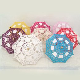 Ombrello di cotone online-Cotton Lace Radius 19cm Ombrelloni Ombrelloni per bambini Bambino Decorazione di nozze Fotografia Puntelli regalo ZA4696