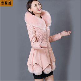 Wholesale Womens Coats Sheep Fur - Wholesale-2016 New Arrival Women Winter Leather Down Jacket Large Size Sheep Fur Coat Womens Winter Parkas M-XXXL A763
