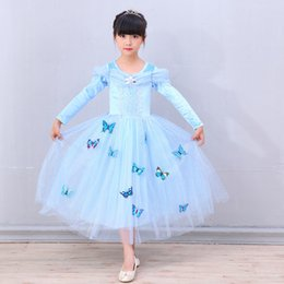 Wholesale Satin Ruffle Baby Dress - Baby & Kids Clothing Girl's Dresses Cosplay & Costumes winter Halloween Day Christmas Classic Fairy Tales Cinderella blue princess Dress