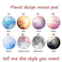 Wholesale Pluto Moon - Planet Series Mat 220 x 220 x 3mm Circular Mouse Pad With Style Earth Venus Mars Mercury Jupiter Pluto Rainbow moon Black moon