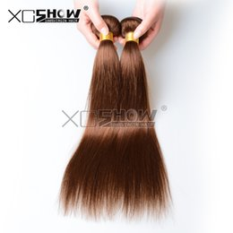 Wholesale Fast Online - 5Pcs lot Brown brazilian virgin hair weave bundles body wave remy hair extension soft silk straight weaving 500g lot DHL fast ship online