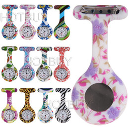 Wholesale Silicone Nurse Brooch Watch - 100X Colorful Nurses Doctor Clip-on Fob Watch Brooches Silicone Leopard Tunic Batteries Medical Nurse Jelly Hanging Pocket Watch #4140