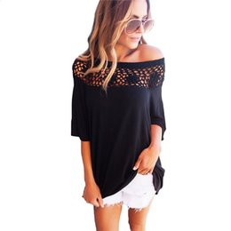 Wholesale Tee Shirt Femme Sexy - T Shirts Women Patchwork Autumn Summer Casual T-Shirt Hollow Out Lace Tee Tops Sexy Loose Femme Plus Size Women Clothing