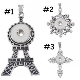 Wholesale Tungsten Cross Necklaces - NOOSA Eiffel Tower Ginger Snap Pendant Necklace Diamond Cross Shape Noosa Pendant Fit 18mm Snap Button Mix 3 Style K2L