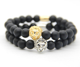 Wholesale Gold Plated Mens Bracelet - New Design 8mm Matte Agate Stone Beads Real Gold, Silver Plated Lion Head Bracelet,mens bracelet