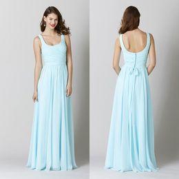 Wholesale Cheap Wedding Reception - Free Shipping Long Light Sky Blue Bridesmaid Dresses Scoop Floor Length Chiffon Prom Dresses Cheap Wedding Guest Reception Evening Gowns