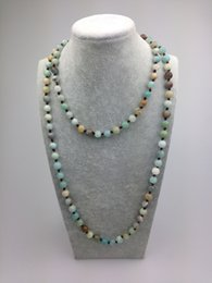 Wholesale Making Beaded Jewelry - ST0008 8mm Amazonite Stone Making 42 inch long Knotted Fashion jade necklace lowest prices jewelry wholesale
