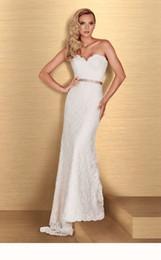 Wholesale Paloma Blanca Trumpet Lace - 2016 Lace Mermaid Wedding Dress With Ribbons Strapless Sweetheart Neckline Romantic 4666 Paloma Blanca Bridal Gown Abiti Da Sposa Sep