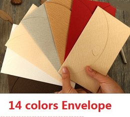 Wholesale Diy Promotional Gifts - Wholesale- promotional gifts 14 colors.Japan retro Grain Heart Blank series diy fun Kraft paper Envelope.Linen pattern.Green envelope.retai