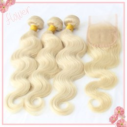 Wholesale Platinum Parts - 8A Russian Virgin 613 Blonde Hair Bundles With Closure 1Pc Free Middle 3 Part Lace Closure With Platinum Blonde Body Wave Human Hair