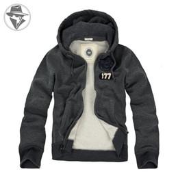 Wholesale Full Zip Hooded - Wholesale-Heavyweight Men's Fleece Full Zip Hoodies Jacket Cotton Cozy Hooded Pullover Winter Warm Men Outwear On Sale Free Shipping 9007