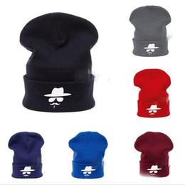 Wholesale Crochet Skull Hat Free Pattern - drop shipping 2016 New 30pcs Fashion Winter Bonnet Hat Knitting Beanie Cowboy Hat Caps Unisex Beard Pattern Gorro Crochet Headgear