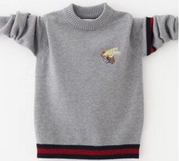 Wholesale Boys 5t Sweater - Hight Quality Children Clothing Boys Spring Autumn Elegant Embroidered Pullover Sweater Teenage Cotton Knit Striped Sweater Free Shipping