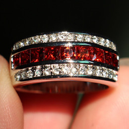 Wholesale antique gold wedding rings - Size 8-12 Fashion Jewelry Antique Jewelry Men Garnet Diamonique Cz Diamond Gemstone 10KT White Gold Filled Wedding Band Ring gift with box