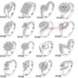 Wholesale Silver Ring Mix - New High Qulity 23 Styles Mixed STYLES MIX SIZES 925 sterling Silver fashion charm Beautiful cute Crystal Stone Wedding ring jewelry