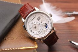 Wholesale cheap mechanical - Cheap New Luxury High Quality Brand 139.025   139.032 Automatic Mechanical Moon Phase Gents Watches White Dial Leather strap Mens Watch AAA+