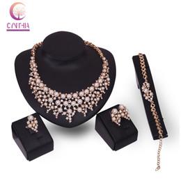 2019 conjunto de joyas de perlas austriacas La manera austríaca Crystal Earrings Necklace Jewelry establece el oro 18K plateó el vestido de boda pendiente clásico de la perla Accesorios conjunto de joyas de perlas austriacas baratos
