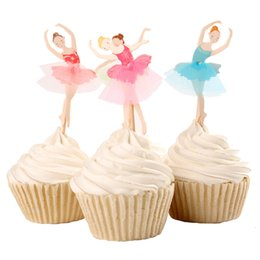 Wholesale Card Inserts Free - Wholesale- Free Shipping 24Pcs Kids Ballet Girl Cupcake Toppers With Toothpick Birthday Cake Insert Card Cupcake Topper
