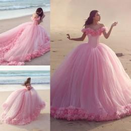 Wholesale Quinceanera Flowers - 2016 Luxury Quinceanera Dresses Baby Pink Ball Gowns Off Shoulder Lace Up Vestidos De Baile Corset with Hand Made Flowers Prom Dresses BM