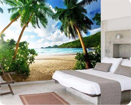 Wholesale Quality Wallpapers - photo wallpaper High quality 3d wall paper Sea palm beach island Travel TV sofa backdrop bedroom large wall mural wallpaper