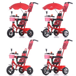 Wholesale Baby Tricycles - Wholesale- Baby Stroller pram bb rubber wheel Inflatable tires Child tricycle infant stroller baby bike 1-6 years old bicycle baby car