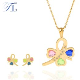 Wholesale Golden Jewellery Designs - TL Golden Butterfly Jewelry Set For Women Colorful Hearts Zircon Surface Unique Design Butterfly Stainless Steel Jewellery Sets