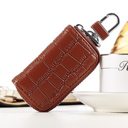 Wholesale Car Leather Wallet - Hot selling small bags for key Custom crocodile skin multi colors genuine leather car key wallet