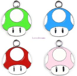 Wholesale Enamel Mushroom Charm - Mixed 100 Pcs Super Mario Mushroom Head Enamel Metal Charm Pendants DIY Jewelry Making Party Favors Toy