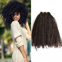 Wholesale Hair Extensions African Americans - Brazilian Afro Kinky Curly Remy Hair Clip in Extensions 4c Virgin Hair Clip ins for African American FDSHINE