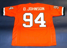 Wholesale Cheap Foot - Cheap retro #94 DWAYNE JOHNSON CUSTOM UNIVERSITY OF MIAMI HURRICANES JERSEY THE ROCK BALLERS orange Mens Stitching Throwback Size S-5XL Foot