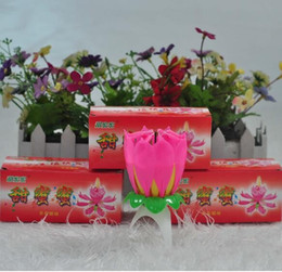 Wholesale Romantic Birthday Cakes - Creative Craft Bougie Amazing Romantic Musical Lotus Flower Happy Birthday Candle Pink For Cake Party Gift 0 85ch C