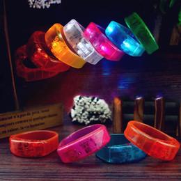 Wholesale Sound Activated Novelties - Novelty LED Light Wristband Voice Activated Sound Control Wrist Band Glow Silicone Bracelet Luminous Hand Ring Party Bar Christmas Light