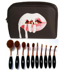Wholesale Makeup Brushes Set Pieces - Kylie Oval Makeup Brush Rose Gold Cosmetic Foundation BB Cream Powder Blush 10 pieces Makeup Tools+bag DHL Free shipping