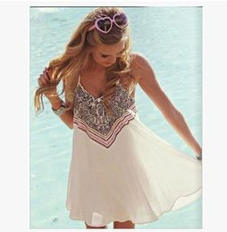 Wholesale Casual For Beach Wear - Wholesale Summer Clothes for Women Dress Strapless Spaghetti Strap Printed Sexy Beach Dresses Casual Wear Free Shipping