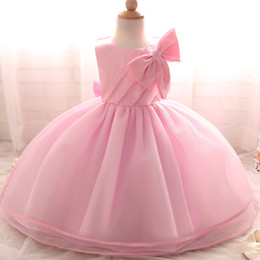 Wholesale Newborn Christening Gowns - Wholesale- Amazing Toddler Girls Christening Gown Newborn Baby Girl Dress Sweet Wedding Party Tutu Birthday Dress Baby Boutique Clothing