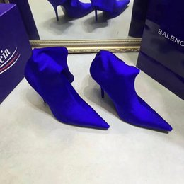 Wholesale Glitter Wedding Heels - 2017 Fashion luxury brand Blue High Heels Dress party Shoes Super Sexy fluorescence Elastic wedding high-heeled shoes Casual 10.5cm Heels