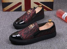 Wholesale Mens Punk Loafers - 2018 Promotion New Fashion Mens luxury brand Punk Studded golden red black Round head Loafers black Casual Dress Shoes free shipping 312