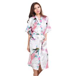 293302b605 Wholesale- White Sexy Chinese Women Silk Rayon Robe Wedding Bridesmaid  Sleepwear V-Neck Kimono Bath Gown Mujer Pajama Plus Size XXXL