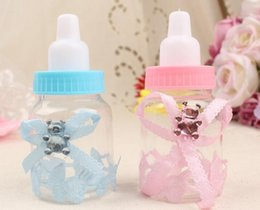 Wholesale Baptism Gifts Decoration - Baby Bottle Candy Box Party Supplies Baby Feeding Bottle Wedding Favors and Gifts Box Baby Shower Baptism Decoration free shipping HY1132