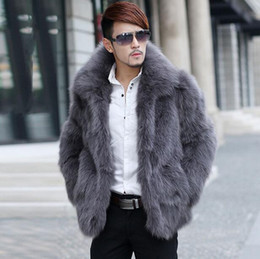 Wholesale Hot Mens Winter Leather Coats - Fall-Hot sell warm Faux fox fur coat mens leather jacket men coats Villus autumn winter thermal Single-breasted outerwear 5XL