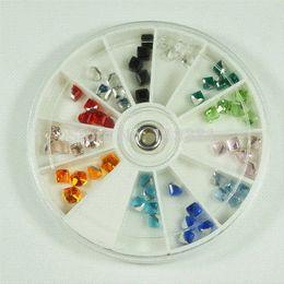 Wholesale Glass Cube Art - 1 Set 8CM Wheel 12 Color Square Cube Beads 4mm Glass Crystal Rhinestones 3D Nail Art Tips Manicure Salon Craft Decoration Retail