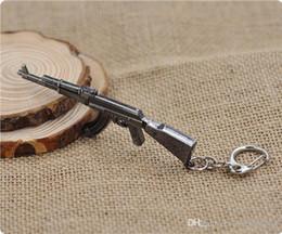 Wholesale Ak Model - AK47 Model Keychain Cross Fire CF Metal Pendant Key Chain Automatic Rifle ak 47 Gun Figure Jewelry Men Toy Accessories Keyring 01601