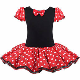 Wholesale Short Sleeve Fancy Dresses - 2016 Kids Gift Minnie Mouse Party Fancy Costume Cosplay Girls Ballet Tutu Dress+Ear Headband Girls Polka Dot Dress Clothes Bow free shipping