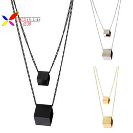 Wholesale El Necklace - Wholesale-2015 new fashion designer punk gold silver black copper square cubic geo false collar pendant necklace for women para el collar