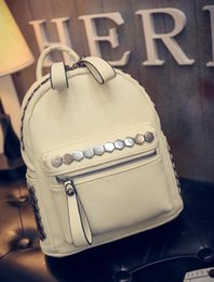 Wholesale College Korean Backpack - 2016 The New Korean version Simple and stylish rivet Backpack Female College Wind Leisure pu bag Street fashion backpack